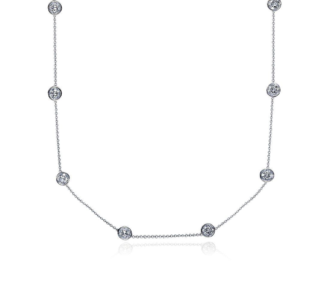 Collar de diamantes con talla bisel en oro blanco de 18k (3 qt. total)