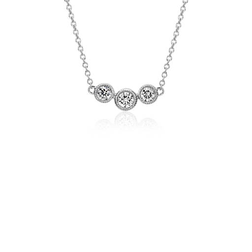 Three-Stone Diamond Milgrain Halo Necklace in 14k White Gold
