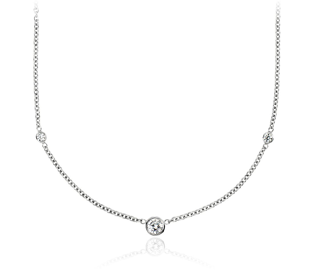 Diamond Bezel-Set Necklace in 18k White Gold (1/2 ct. tw.)