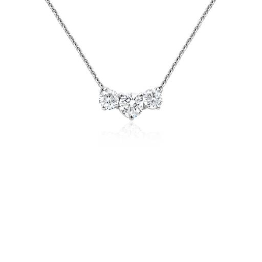 Three-Stone Diamond Necklace in 18k White Gold (1 ct. tw.)