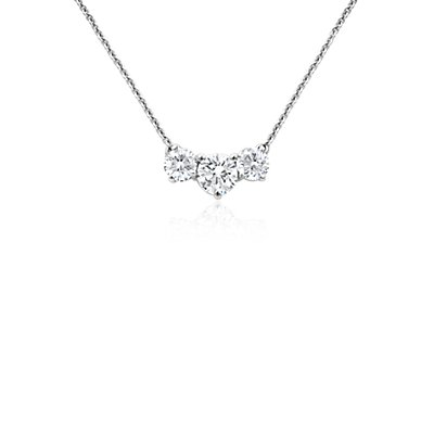 Collier en diamants trois pierres en or blanc 18 carats (1 carat, poids total)