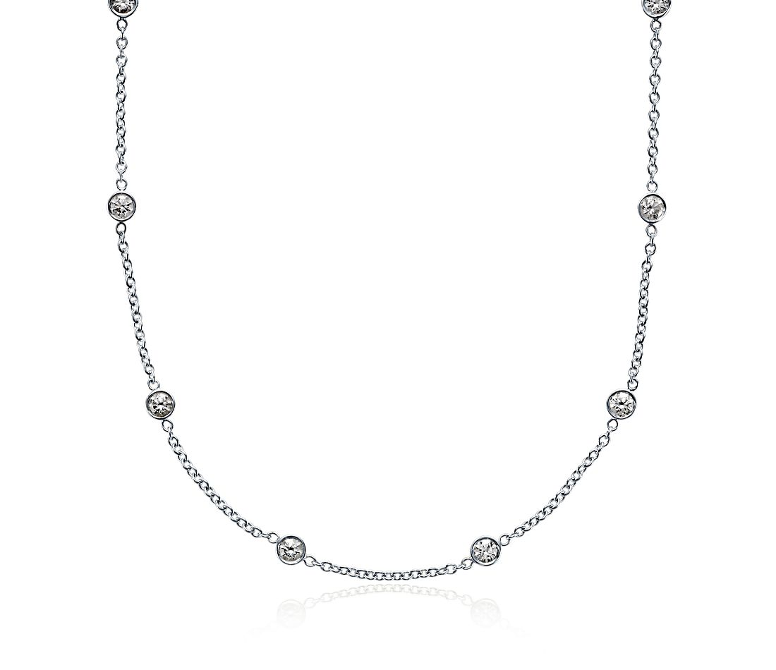 Diamond Bezel Necklace in 18k White Gold (2 ct. tw.)