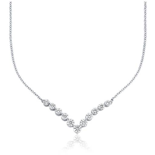 "Diamond ""V"" Necklace in 18k White Gold (2 ct. tw.)"