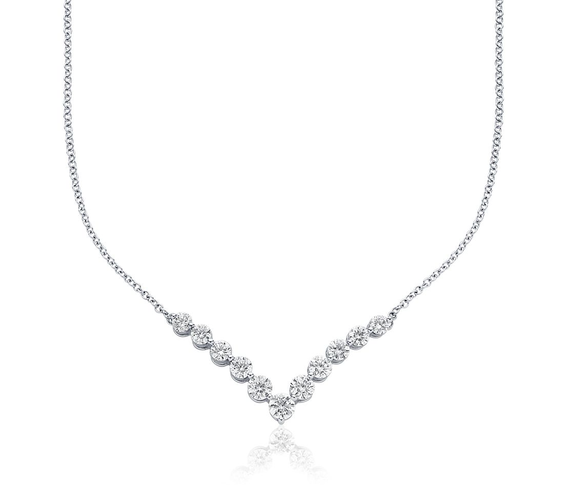 Collier V en diamants en or blanc 18 carats (2 carats, poids total)