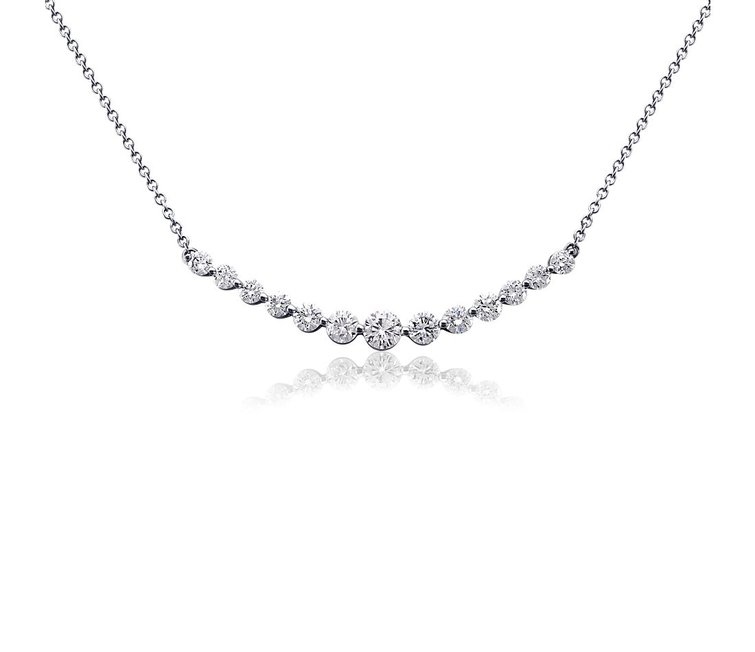 curved diamond necklace in 18k white gold 1 ct tw