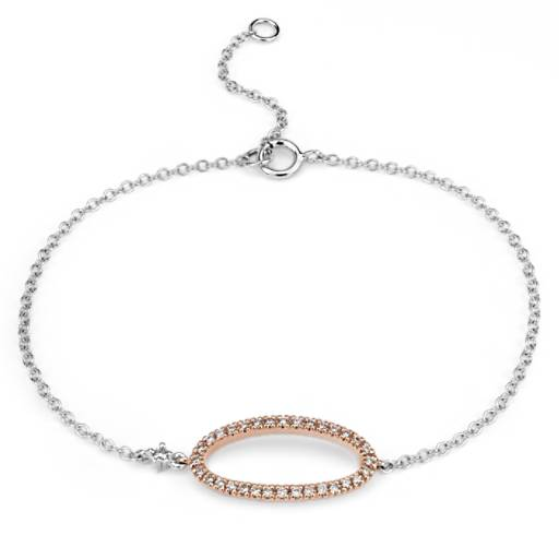 Diamond Oval Bracelet in 14k White and Rose Gold (1/10 ct. tw.)