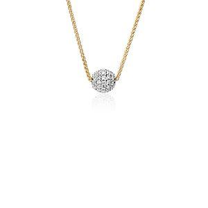 Pendentif à boule avec diamant serti en pavé Blue Nile Studio en or jaune 18carats (2/5carats, poids total)