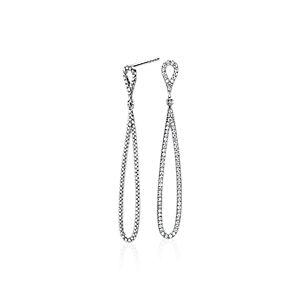 NEW Pavé Diamond Open Teardrop Earrings in 14k White Gold ( 0.47 ct. tw.)