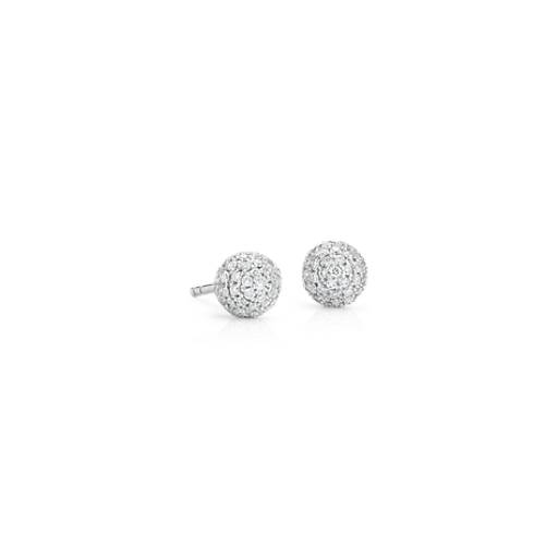 NEW Diamond Pave Stud Earring 14k White Gold (3/8 ct. tw.)