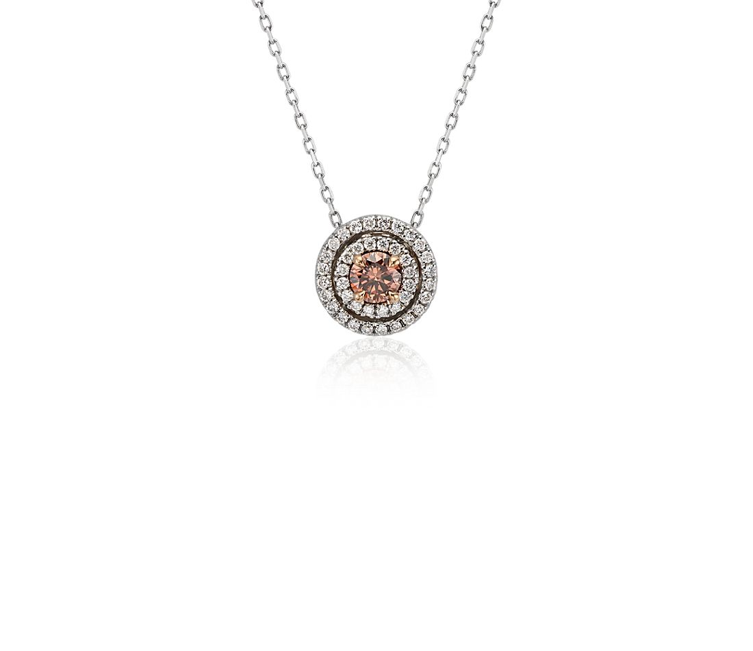 Fancy Diamond Halo Pendant in 18k White Gold