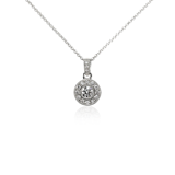 Vintage- Style Halo Diamond Pendant in 18k White Gold (1/2 ct. tw.)