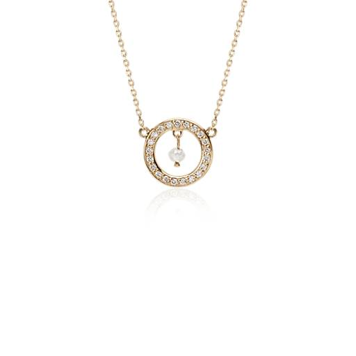 Round Rough Diamond Necklace in 14k Yellow Gold (1/10 ct. tw.)