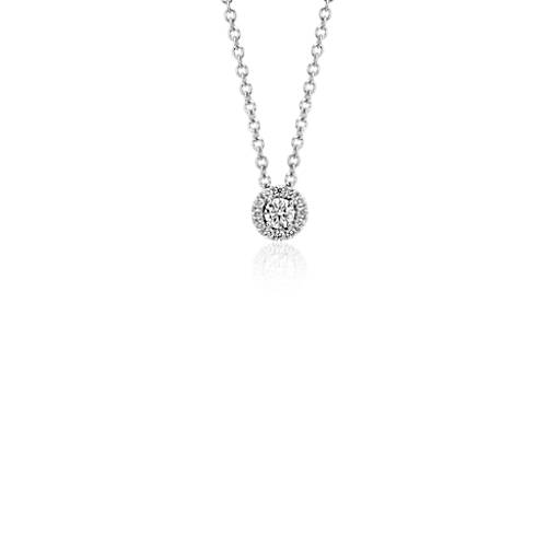 Mini Diamond Halo Pendant in 14k White Gold