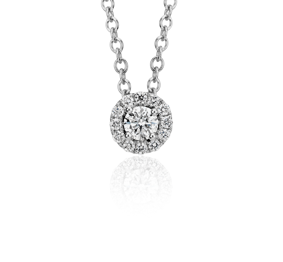 Mini Diamond Halo Pendant in 14k White Gold (1/10 ct. tw.)