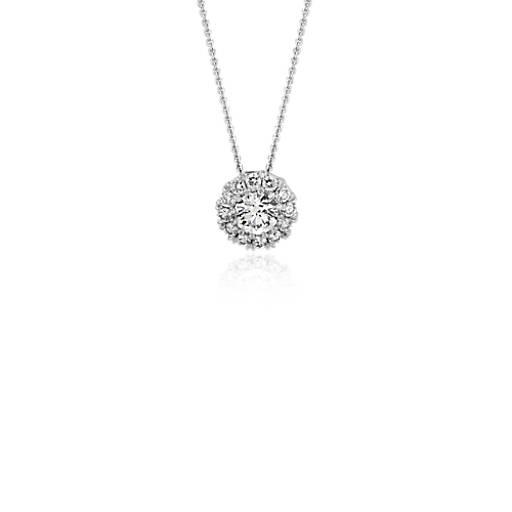 Diamond Halo Pendant in 18k White Gold - H / SI2 (1/2 ct. tw.)
