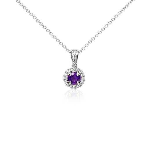 Amethyst and Micropavé Diamond Pendant in 18k White Gold (5mm)