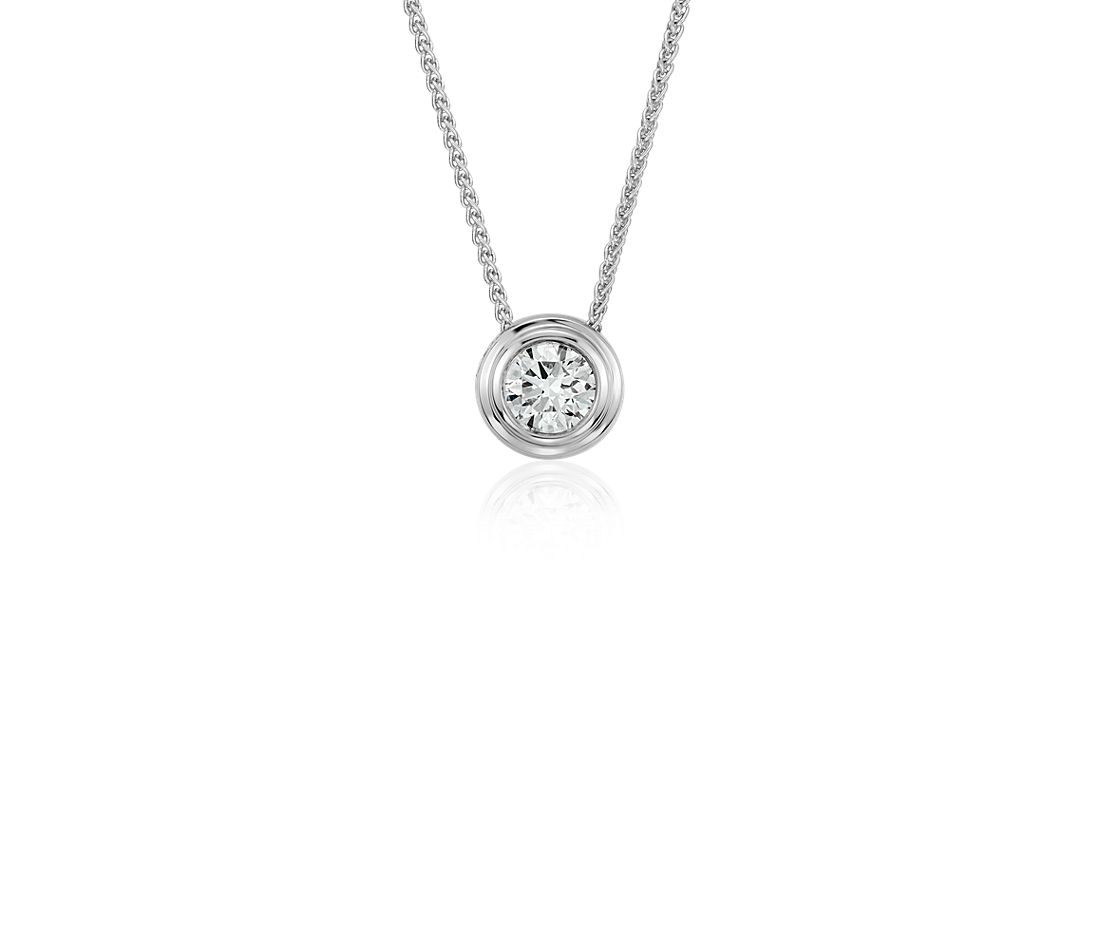 Diamond Solitaire Bezel Pendant in 18k White Gold (3/8 ct. tw.)
