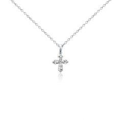 Diamond Cross Pendant in 18k White Gold (3/4 ct. tw.)