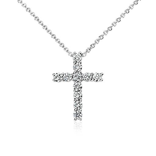 Diamond Cross Pendant in 18k White Gold