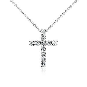 Diamond Cross Pendant in 18k White Gold (1/2 ct. tw.)