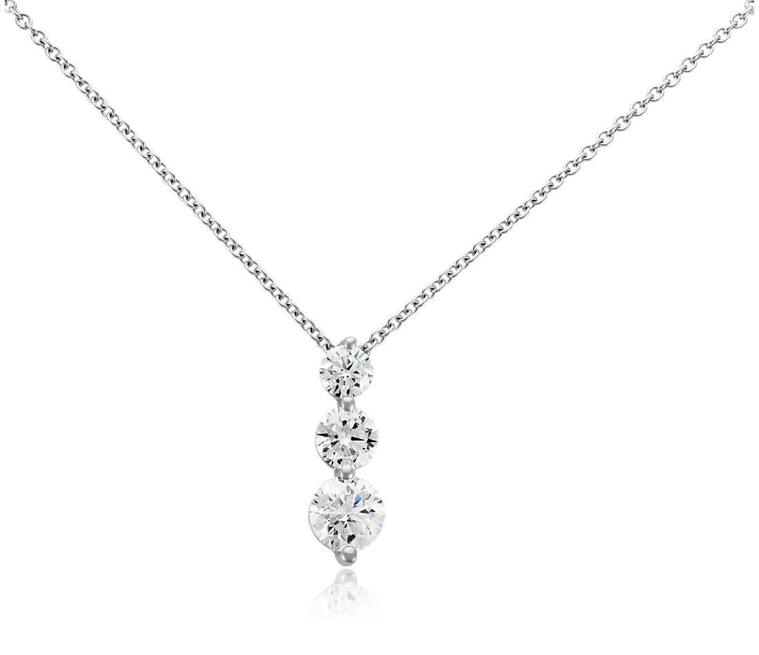 Three-Stone Drop Diamond Pendant in 18k White Gold (2 ct. tw.)
