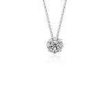 Halo Diamond Pendant in 18k White Gold (1 ct. tw.)