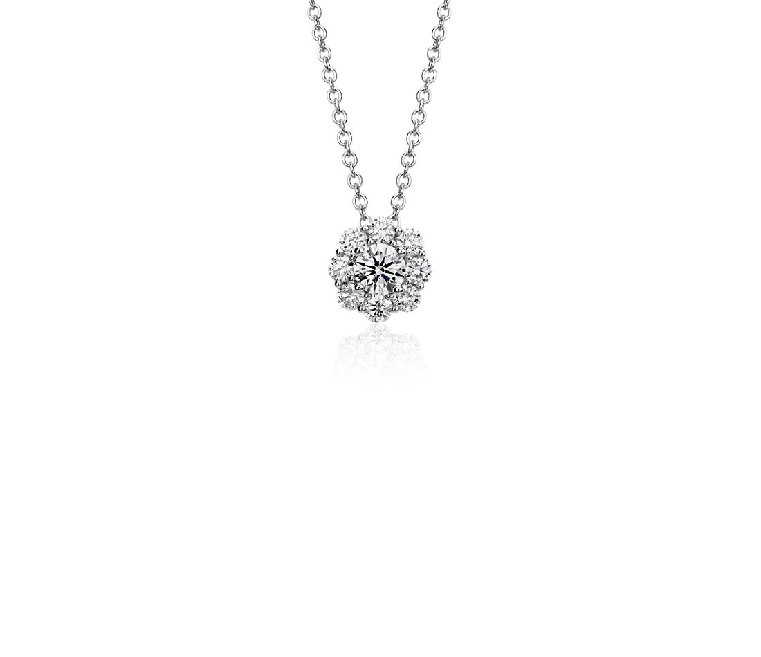Halo Diamond Pendant in 18k White Gold