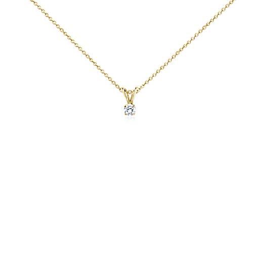 Colgante de diamante solitario en oro amarillo de 18k (1/4 qt. total)