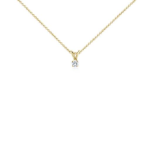 Pendentif solitaire diamant en or jaune 18carats (1/4carat, poids total)