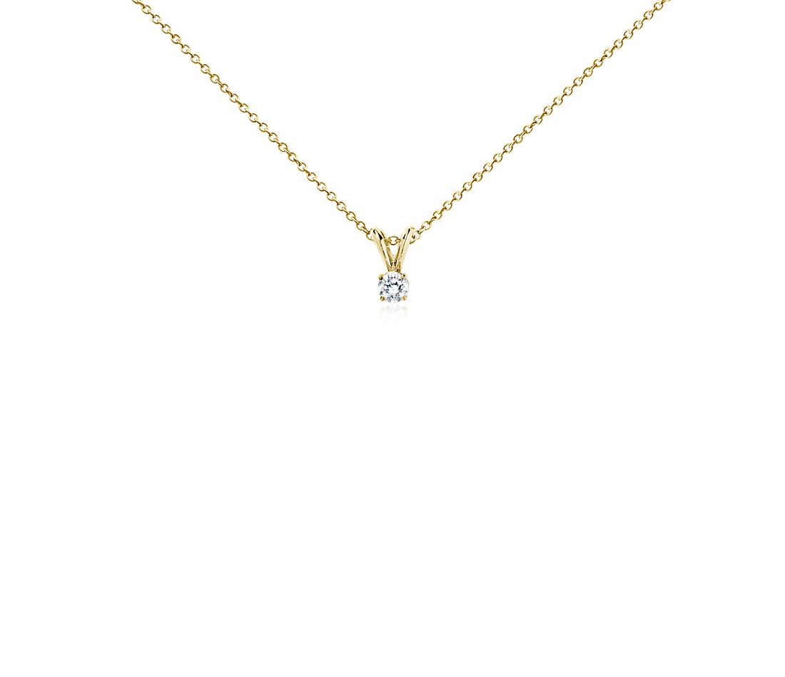 Diamond Solitaire Pendant in 18k Yellow Gold (1/4 ct. tw.)