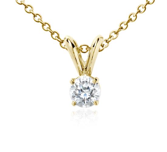 Or 18carats Pendentif diamant double bélière à Quatre Griffes (1/3carat, poids total)