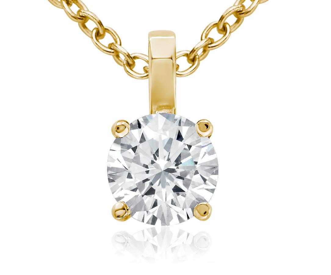 Pendentif solitaire diamant en or 18carats (3/4carat, poids total)