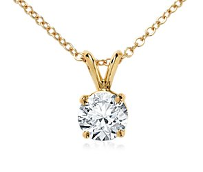 Double-Bail Solitaire Pendant Setting in 18k Yellow Gold