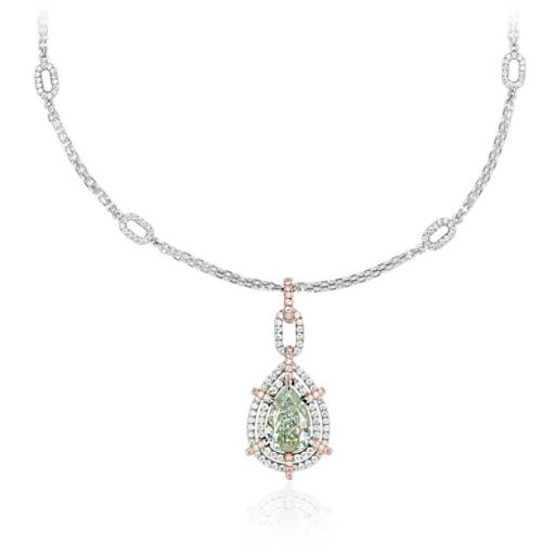 NEW Fancy Yellowish Green Pear-Shaped Diamond Double Halo Pendant in 18k White and Rose Gold (2.06 ct. tw.)