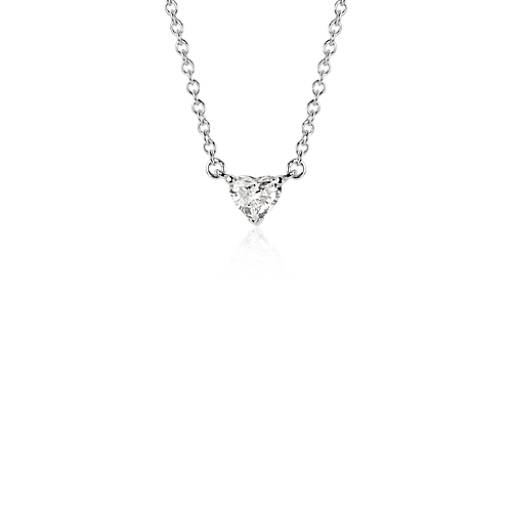 Heart-Shaped Diamond Pendant in 18k White Gold (3/8 ct. tw.)