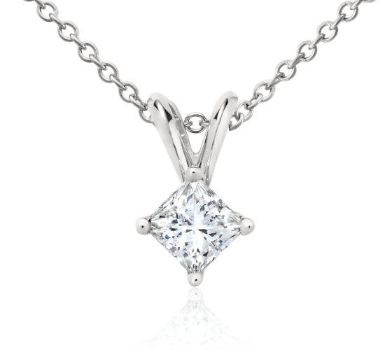 Princess-Cut Diamond Solitaire Pendant in Platinum (1/3 ct. tw.)