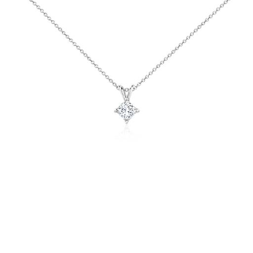 Princess-Cut Diamond Solitaire Pendant in 18k White Gold (3/4 ct. tw.)