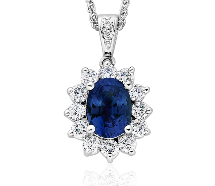 Sapphire and Diamond Pendant in 18k White Gold (8x6mm)