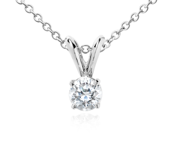 18k White Gold Four-Claw Double-Bail Diamond Pendant (1/2 ct. tw.)