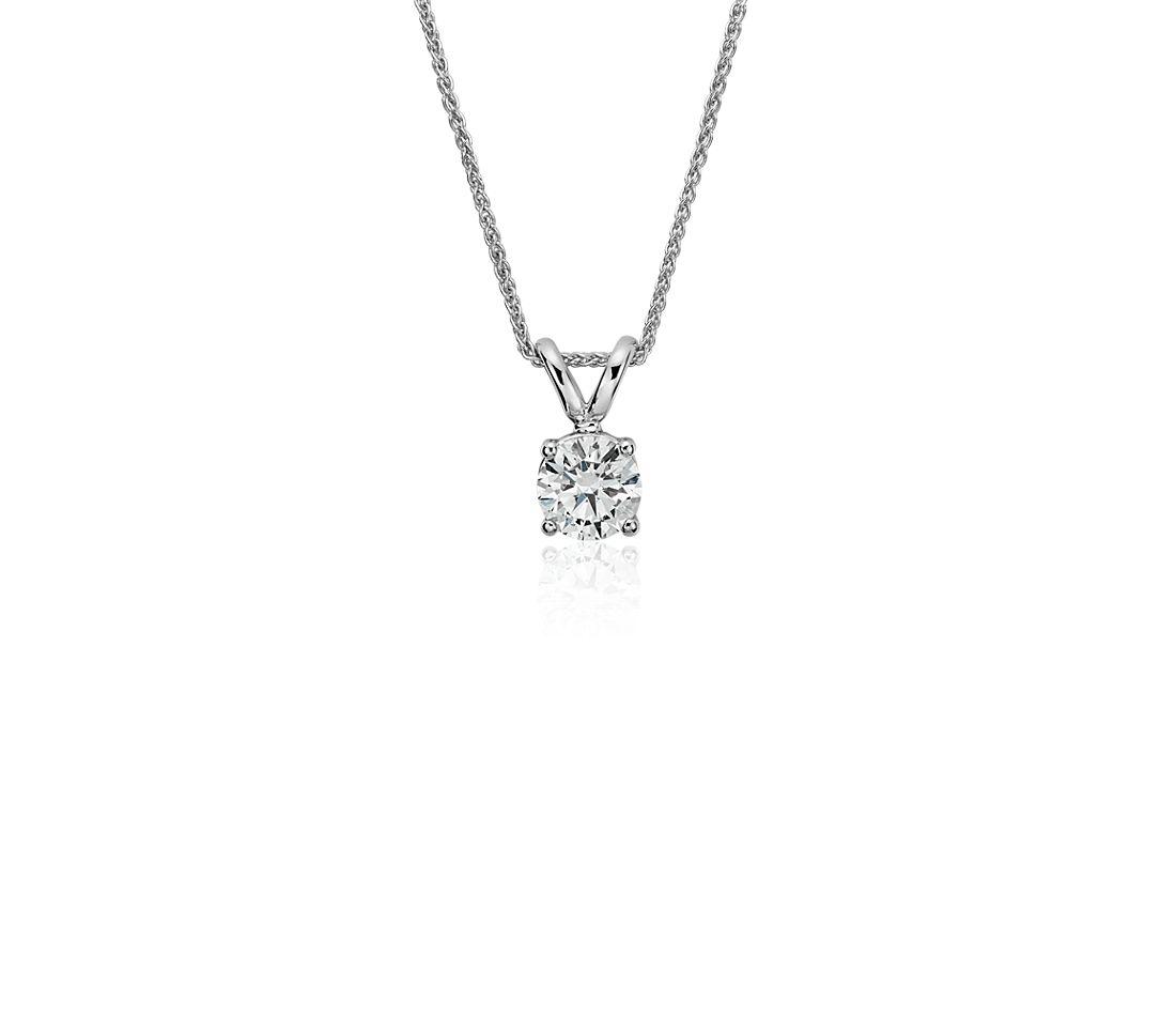 Colgante de diamante solitario en oro blanco de 18k (5/8 qt. total)
