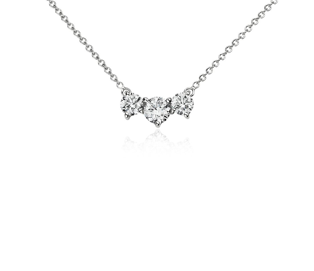 Three-Stone Diamond Pendant in 18k White Gold (1 1/2 ct. tw.)