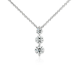 Three-Stone Drop Diamond Pendant in 18k White Gold (1 1/2 ct. tw.)