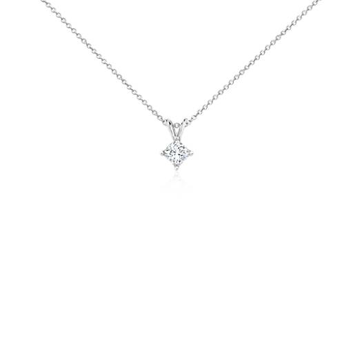 Princess-Cut Diamond Solitaire Pendant in 18k White Gold (1/2 ct. tw.)