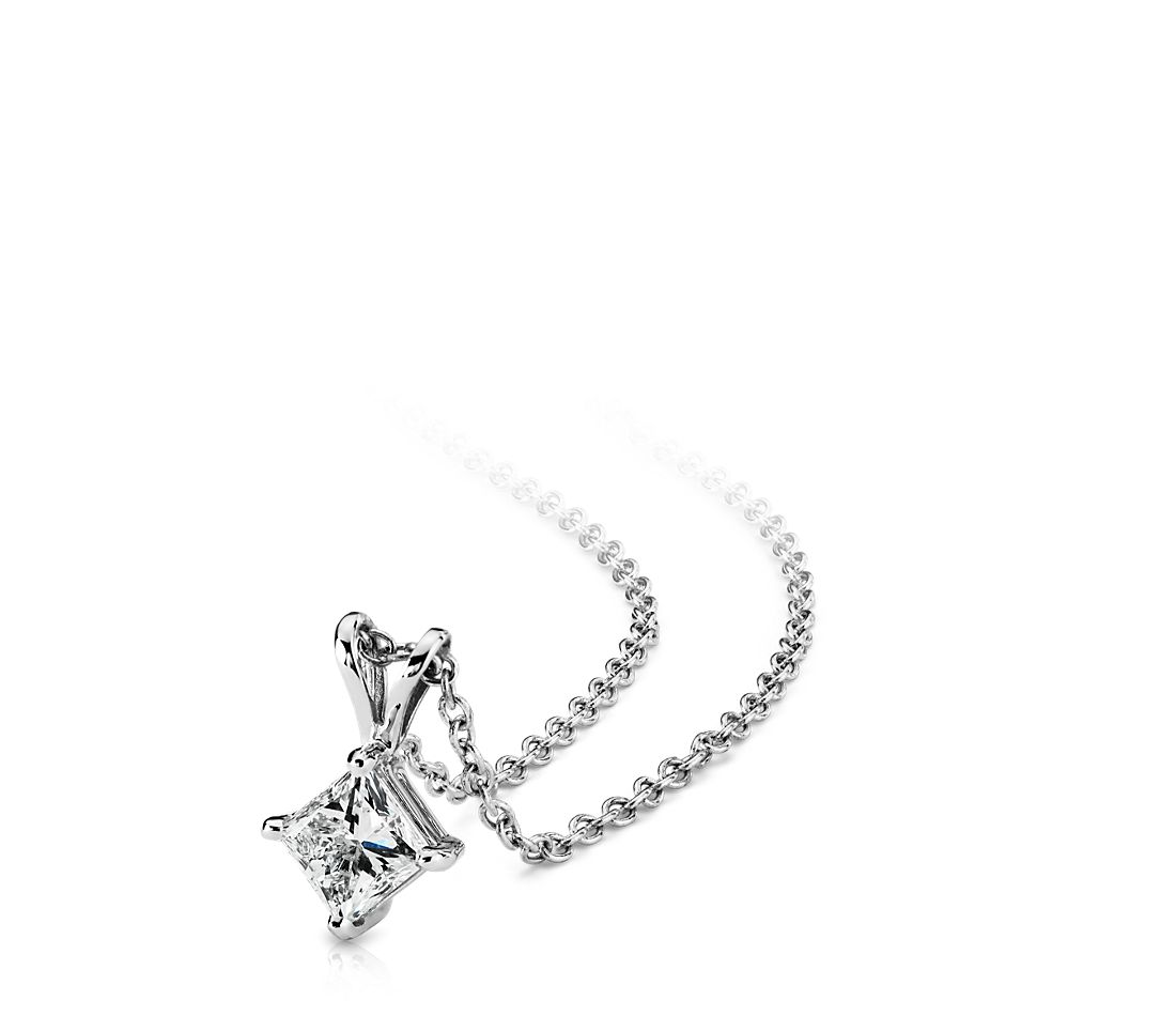 Princess-Cut Diamond Solitaire Pendant in 18k White Gold (1 ct. tw.)