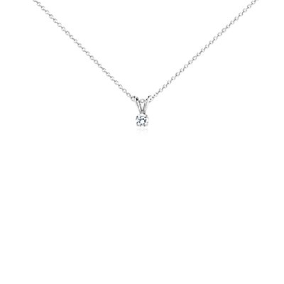Diamond Solitaire Pendant in 18k White Gold (1/4 ct. tw.)