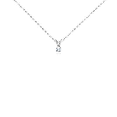Pendentif solitaire diamant en or blanc 18carats (1/4carat, poids total)