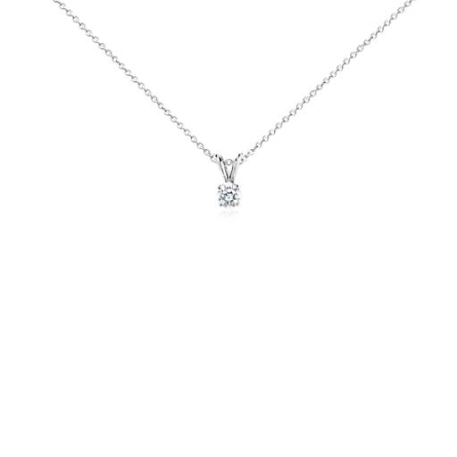 Diamond Solitaire Pendant in 18k White Gold (1/2 ct. tw.)