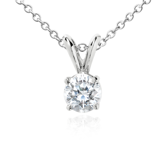 18k White Gold Four-Claw Double-Bail Diamond Pendant (3/4 ct. tw.)