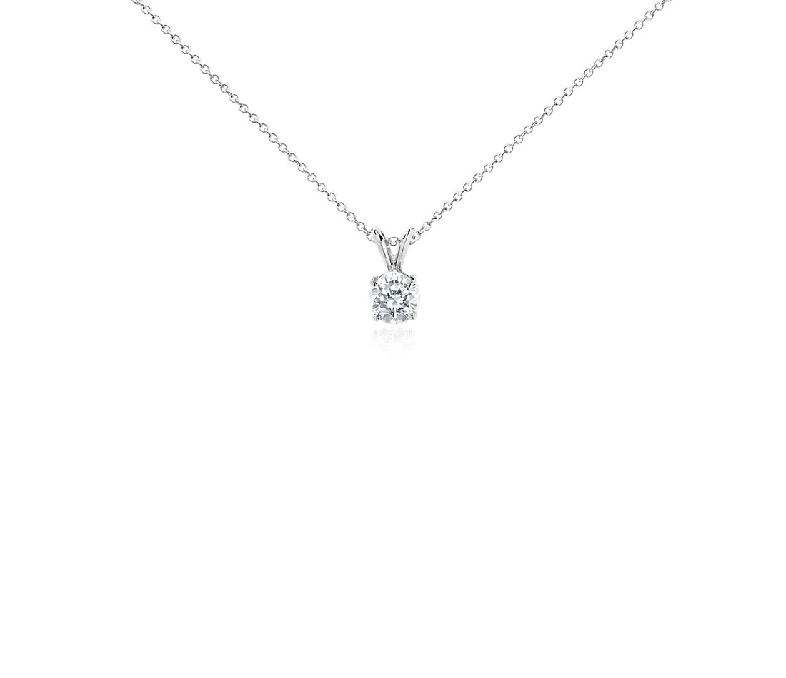 Diamond Solitaire Pendant in 18k White Gold (1 ct. tw.)