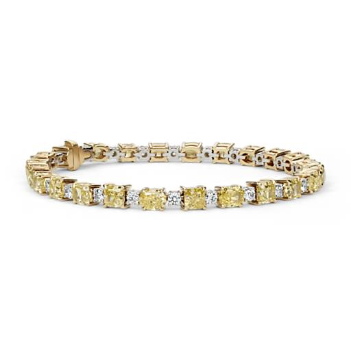 Bracelet diamants radiant et coussin jaune intense fantaisie en or jaune 18 carats